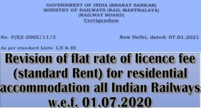 revision-of-flat-rate-of-licence-fee-indian-railways-w-e-f-01-07-2020-corrigendum