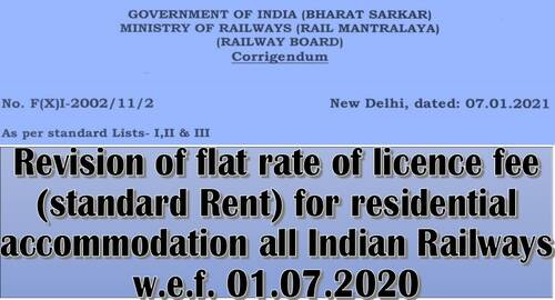Revision of flat rate of licence fee (standard Rent) for residential accommodation all Indian Railways w.e.f. 01.07.2020: Corrigendum