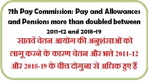 7th Pay Commission: Pay and Allowances and Pensions more than doubled between 2011-12 and 2018-19 सातवें वेतन आयोग के कारण वेतन और भत्ते दोगुना