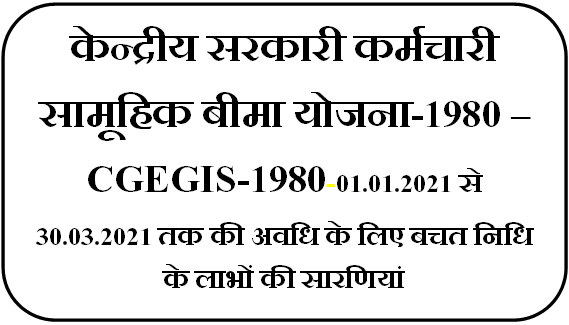 CGEGIS-1980 – Table of Benefits for the savings fund for the period from 01.01.2021 to 31.03.2021