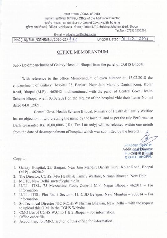 CGHS Bhopal: De-empanelment of Galaxy Hospital Bhopal from the panel