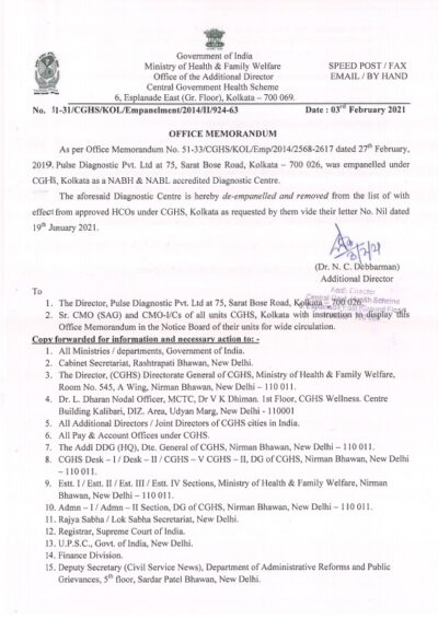 cghs-kolkata-discontinuation-of-services-of-pulse-diagnostic-pvt-ltd-w-e-f-3-feb-2021