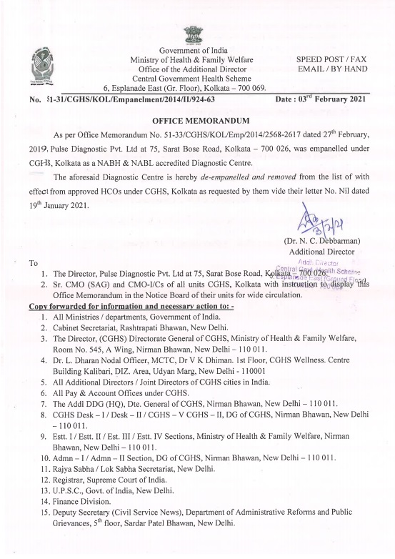 CGHS Kolkata: Discontinuation of services of Pulse Diagnostic Pvt Ltd w.e.f 3 Feb 2021