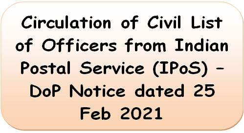 Circulation of Civil List of Officers from Indian Postal Service (IPoS) – DoP Notice dated 25 Feb 2021