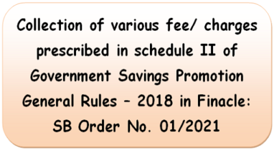 collection-of-various-fee-charges-prescribed-in-schedule-ii-of-government-savings-promotion-general-rules-2018-in-finacle-sb-order-no-01-2021