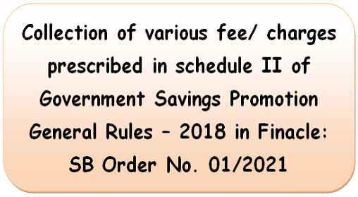 Collection of various fee/charges prescribed in schedule II of Government Savings Promotion General Rules – 2018 in Finacle : SB Order No. 01/2021