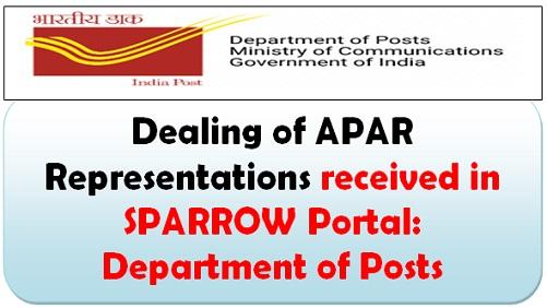 Dealing of APAR Representations received in SPARROW Portal: Department of Posts