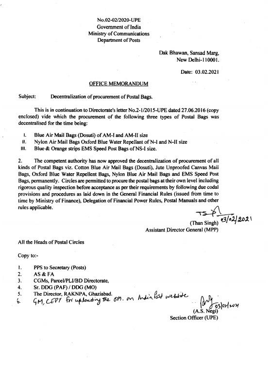 Decentralization of procurement of Postal Bags: Department of Posts 03 Feb 2021