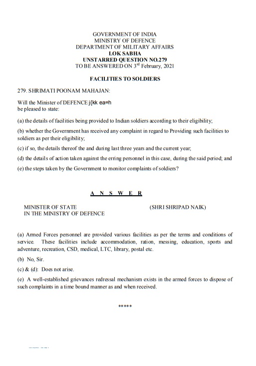 Facilities and Grievances Redressal Mechanism to Armed Forces personnel
