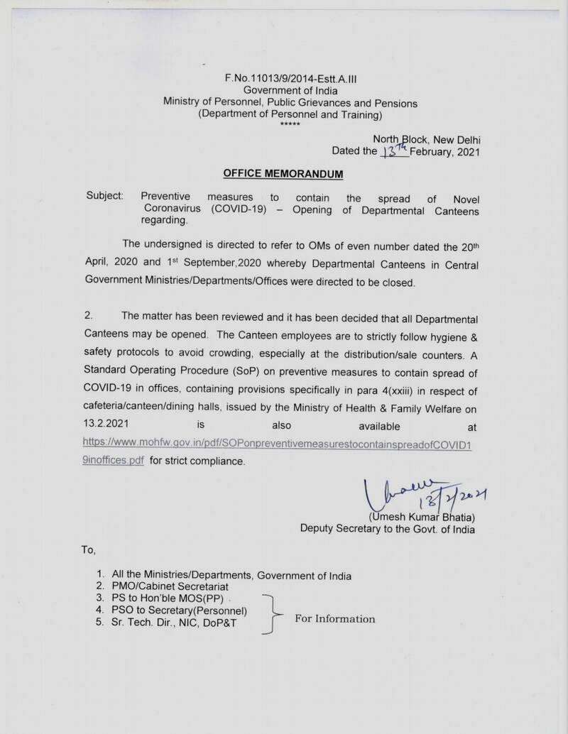 Opening of Departmental Canteens in Central Government Ministries/ Departments/ Offices: DoP&T O.M. 13.02.2021
