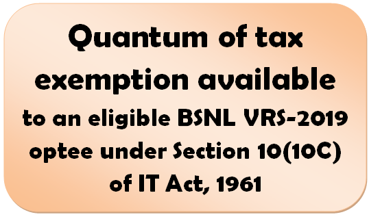 Quantum of tax exemption available to an eligible BSNL VRS-2019 optee under Section 10(10C) of IT Act, 1961