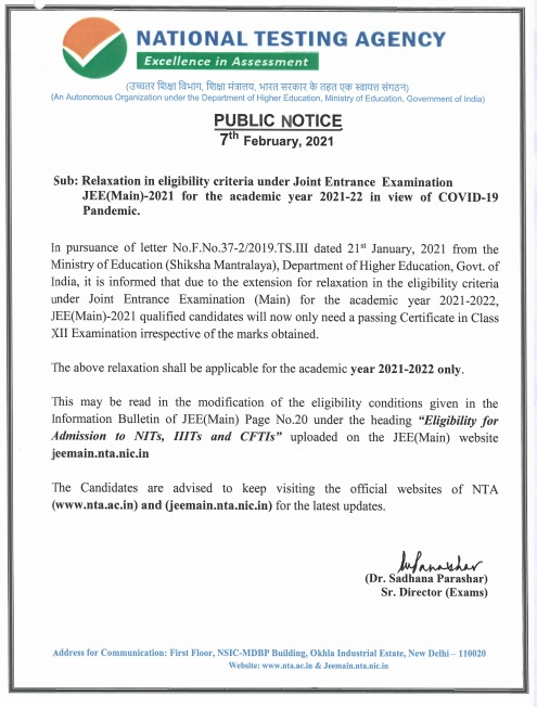 Relaxation in eligibility criteria under Joint Entrance Examination JEE(Main)-2021 for the academic year 2021-22 in view of COVID-19 Pandemic