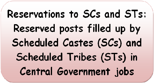 Reservations to SCs and STs: Reserved posts filled up by SCs and STs in Central Government jobs