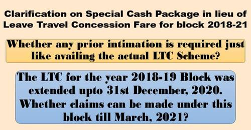 Special Cash Package equivalent in lieu of Leave Travel Concession Fare – FAQ No. 4 dt 16.02.2021 regarding prior intimation and claim for block year 2018-19(extended till 31.12.2020)