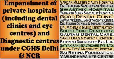cghs-delhi-ncr-fresh-empanelment-of-16-private-hospitals