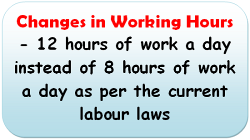 Changes in Working Hours – 12 hours of work a day instead of 8 hours of work a day as per the current labour laws