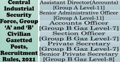 cisf-group-a-b-civilian-gazetted-posts-recruitment-rules-2021