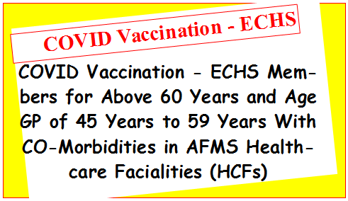 COVID Vaccination – ECHS Members for Above 60 Years and Age GP of 45 Years to 59 Years With CO-Morbidities in AFMS Healthcare Facialities (HCFs)