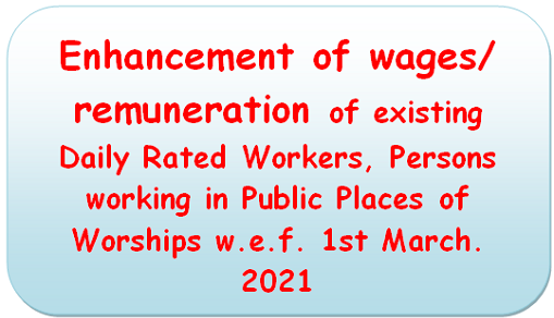Enhancement of wages/ remuneration of existing Daily Rated Workers, Persons working in Public Places of Worships w.e.f. 1st March. 2021