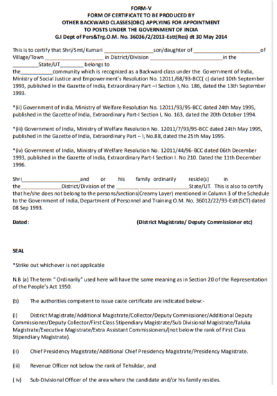 form-v-for-obc-applying-for-appointment-to-posts-under-the-government-of-india