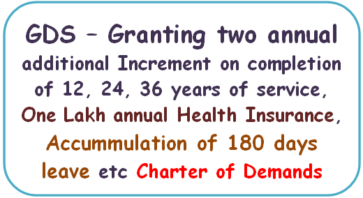 GDS – Granting two annual additional Increment on completion of 12, 24, 36 years of service, Health Insurance, Accummulation of 180 days leave etc – Charter of Demands