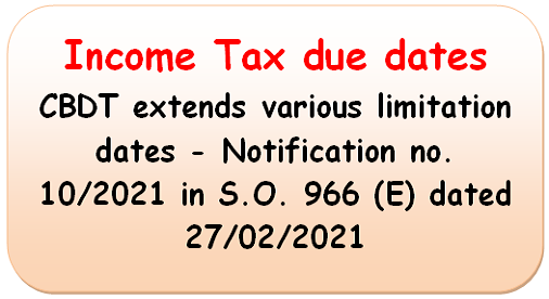 Income Tax due dates : CBDT extends various limitation dates – Notification no. 10/2021 in S.O. 966 (E) dated 27/02/2021