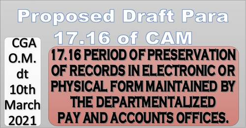 Period of preservation of records in electronic or physical form maintained by the Departmentalized Pay and Accounts Offices: Proposed draft Para 17.16 of CAM