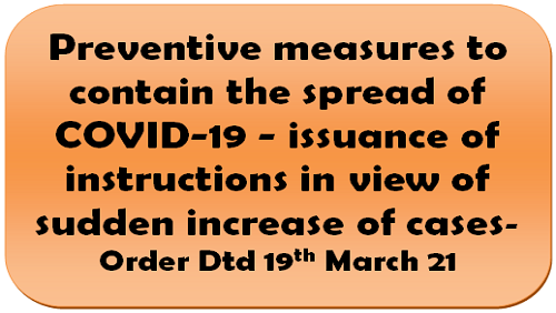 Preventive measures to contain the spread of COVID-19 – issuance of instructions in view of sudden increase of cases