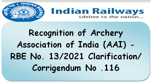 Recognition of Archery Association of India {AAI) – RBE No. 13/2021 Clarification/Corrigendum No .116