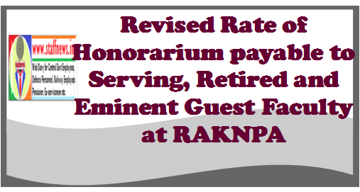 Revised Rate of Honorarium payable to Serving, Retired and Eminent Guest Faculty at RAKNPA