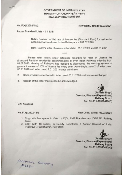 Revision of flat rate of license fee (Standard Rent) for residential accommodation all over Indian Railways w.e.f 01.07.2020