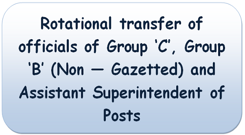 Rotational Transfer of Group 'C' and 'B' (Non-Gazetted) and Assistant Superintendent Posts