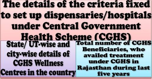Setting up of CGHS Wellness Centres: Criteria, list of CGHS Wellness Centres / Hospitals in the country and details about beneficiaries of Rajasthan State