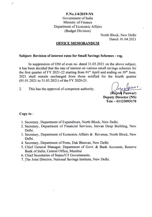 Revision of interest rates for Small Savings Schemes – Fin Min Order Dtd 01st April 2021