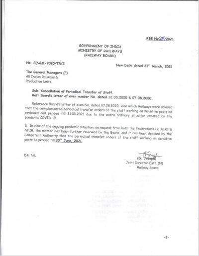 cancellation-of-periodical-transfer-of-staff-railway-board-order-rbe-no-28-2021