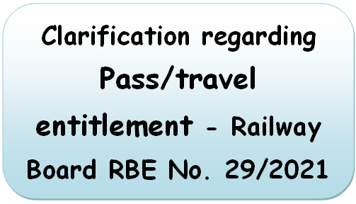 Clarification regarding Pass/travel entitlement – Railway Board RBE No. 29/2021