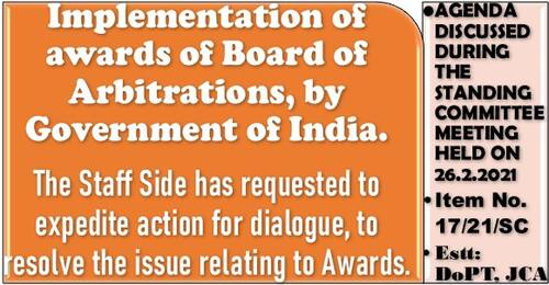 Implementation of awards of Board of Arbitrations, by Government of India: Standing Committee Meeting