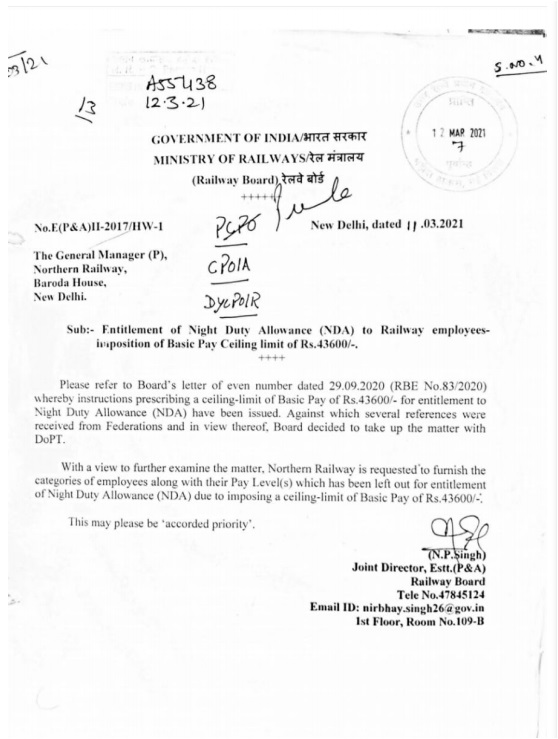 Entitlement of Night Duty Allowance (NDA) to Railway employees – Imposition of Basic Pay Ceiling limit of Rs.43600