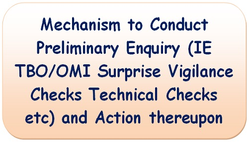 Mechanism to Conduct Preliminary Enquiry (IE TBO/OMI Surprise Vigilance Checks Technical Checks etc) and Action thereupon
