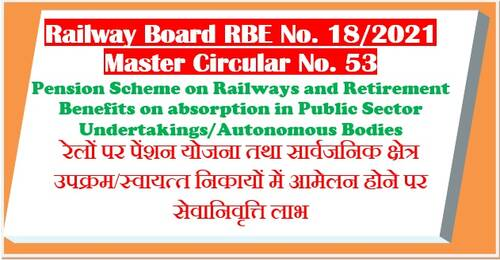 Pension Scheme on Railways and Retirement Benefits on absorption in Public Sector Undertakings/Autonomous Bodies: Master Circular – RBE No. 18/2021