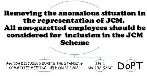 Removing the anomalous situation in the representation of JCM: Item No. 13/19/SC Standing Committee Meeting