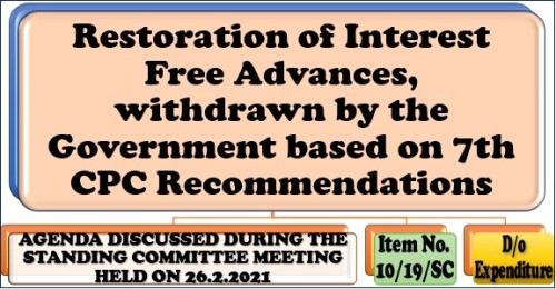 Restoration of Interest Free Advances, withdrawn by the Government based on 7th CPC Recommendations: Item No. 49/19/SC Standing Committee Meeting