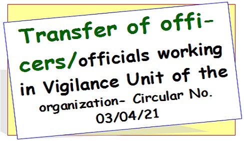 Transfer of officers/officials working in Vigilance Unit of the organization- Circular No. 03/04/21